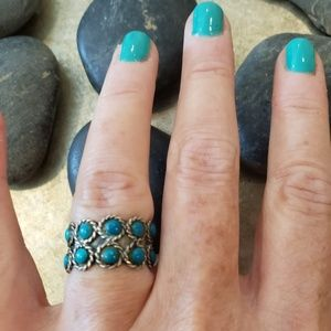 Vintage Sterling Taxco Turquoise Band Ring